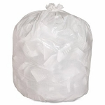 12-16 Gallon White Trash Bags 24x33 0.45 Mil 500 Bags