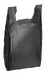 Thank You T Shirt Bags pk. of 1000 Black 8x4x16 14 Microns 1/10 size Plastic Shopping Bags