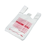 Thank You T Shirt Bags pk. of 500 White 12x7x23 16 Microns 1/6 size Red Print Plastic Shopping Bags